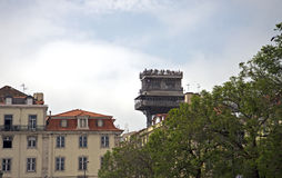 Center of Lisbon with famous Santa Justa lift. Top of the Santa Justa Lift in the city center of Lisbon, Portugal Stock Image