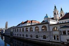 Center of Ljubljana. Capitol of Slovenia Royalty Free Stock Photo