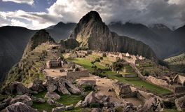 The center of Machu Picchu, the lost Inca town in Peru HDR. Machu Picchu is the most significant monument in South America and also the UNESCO World Heritage stock photography