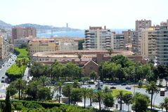 Center of Malaga bullring r sea in the distance in Spain Stock Photo