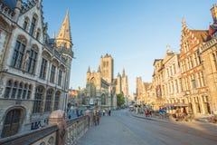Center Market of Ghent, Belgium. Stock Photo