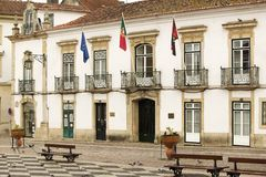 Center of the medieval village of Tomar, Portugal, the town where the Knights of Templar founded the Castle of Tomar Royalty Free Stock Image