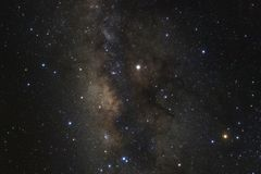 The center of milky way galaxy with stars and space dust in the stock photography