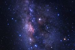 The center of milky way galaxy with stars and space dust in the royalty free stock image