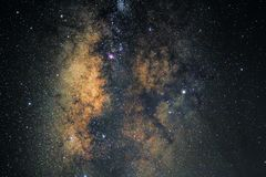 Center of the Milky way galaxy with stars and space dust in the universe royalty free stock photos