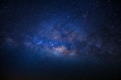 The center of the milky way galaxy with stars and space dust in the universe, Long exposure photograph, with grain stock image