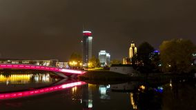 Center of the night Minsk city. Time lapse shot in motion.  stock video
