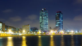 Center of nightlife from sea at Barcelona Stock Photos