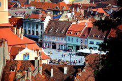 Center of old town, Brasov, Transilvania Royalty Free Stock Images