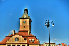 Center of the old town council square and Kronstädter Altes Rathaus in Transylvania Romania. Kronstädter Altes Rathaus casa sfatului in Brasov Romania royalty free stock image