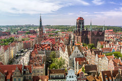 Center Old Town, Gdansk. GDANSK, POLAND - JUNE 6:  View of Central Old Town, Main Town Hall and Church of St. Mary in Gdansk, Poland on June 6, 2015 Stock Photography