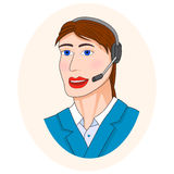 Center operator. Portrait of a woman call center operator with headset Royalty Free Stock Image