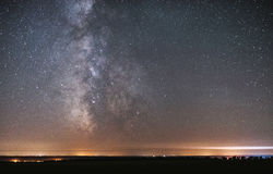 The center of our home galaxy, the Milky Way galaxy, night stars landscape royalty free stock photo