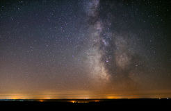 The center of our home galaxy, the Milky Way galaxy, night stars landscape stock photo