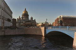 Center of Petersburg. One of most impotant square of Saint-Petersburg - Isaakievskaya Square, there are Isaakievskiy Cathedral, Hotel Astoria, monument to Stock Photography