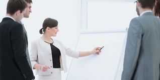 Copywriter and designers to stand next to a blank poster and dis Royalty Free Stock Photo