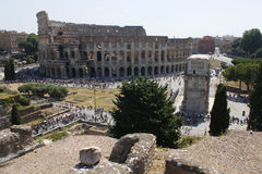 Center of Rome, Ancient, Colosseum, Coliseum, ruins, old building, queue, Lazio, Italy. Center of Rome, Ancient, Colosseum, Coliseum, ruins, old building, queue Stock Photo