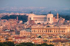 Center of Rome At Sunset View of Altar of the Fatherland Royalty Free Stock Photo