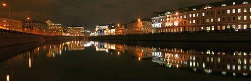 center russia för moscow nattpanorama sikt Arkivbilder