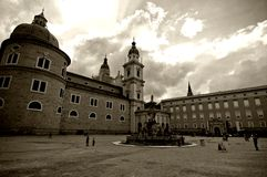 Center Of Salzburg City. In Austria (Europe).  Sepia tone Royalty Free Stock Photography