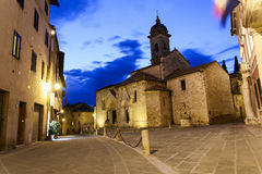 Center of san quirico d'Orcia. Night photo of the beautiful city center of San quirico d'Orcia Royalty Free Stock Photography