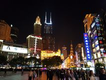 Center of shangai, most famous street stock photos