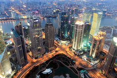 center skymning finansiella shanghai Arkivfoto