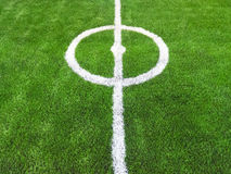 Center of Soccer field green grass Stock Photos