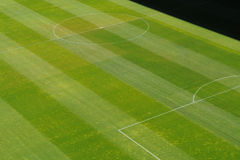 Center of soccer football grass playing field Royalty Free Stock Photography