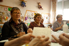 Center of social services for pensioners. Day of Health in Center of social services for pensioners and disabled Otrada (occupational therapy for eldery), May 4 Stock Photography
