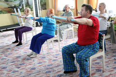 Center of social services for pensioners. Day of Health in Center of social services for pensioners and the disabled gymnastics for eldery in Samara, Russia.n Royalty Free Stock Photo