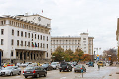 Center of Sofia, Bulgaria. SOFIA, BULGARIA - CIRCA OCTOBER 2013 - Bulgarian National Bank building and the street in the center of Sofia, the capital of Bulgaria Stock Photography