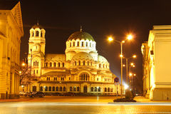 The center of Sofia, Bulgaria by night stock photo