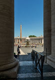 Center of St. Peter's square with Bernini's Fountain located dir Stock Photography