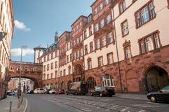 center stadsfrankfurt germany historisk strömförsörjning Arkivfoto