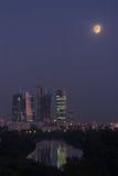 center stadsmoscow nighttime Royaltyfri Bild