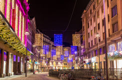 The center of Strasbourg decorated for Christmas. France Royalty Free Stock Images