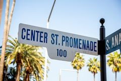Center Stret Promenade sign in Anaheim royalty free stock image