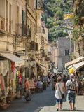The center of Taormina in southern Italy on the island of Sicily Stock Images