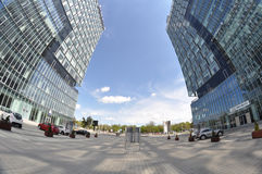 Center towers. Twin towers in front of Baneasa exhibition center in Bucharest - the capital of Romania Stock Photo