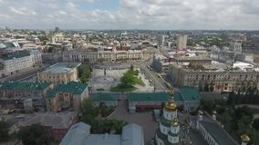 The center of the town from up above stock footage