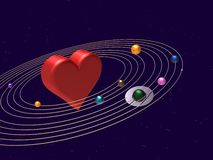 The Center Of The Universe. Red heart in the center of the universe, representing how important it is for life Royalty Free Stock Photography