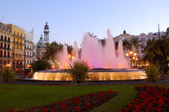 Center of valencia, spain. View of the fountain of valencia city center, in spain royalty free stock photography