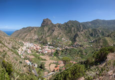 Center of Vallehermoso with Roque el Cano Stock Photography