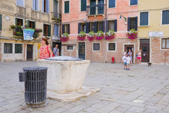 Center of Venice. Venice, Italy, June, 21, 2016: the image of a street in a center of Venice, Italy Royalty Free Stock Image