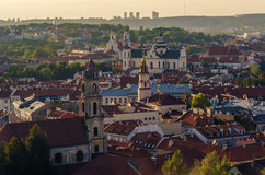 Center of Vilnius, Lithuania. Aerial view from piloted flying object. Center part of Vilnius, Lithuania in the sunset. Aerial view from piloted flying object Royalty Free Stock Images