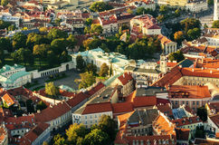 Center of Vilnius, Lithuania. Aerial view from piloted flying object. Center part of Vilnius, Lithuania in the sunset. Aerial view from piloted flying object Royalty Free Stock Photos