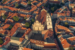 Center of Vilnius, Lithuania. Aerial view from piloted flying object. Center part of Vilnius, Lithuania in the sunset. Aerial view from piloted flying object Royalty Free Stock Image