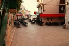 Center of Vodice. Restaurants, cafe and pizzeria bars in Vodice stock photography