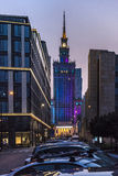 Center of Warsaw at night Stock Photo